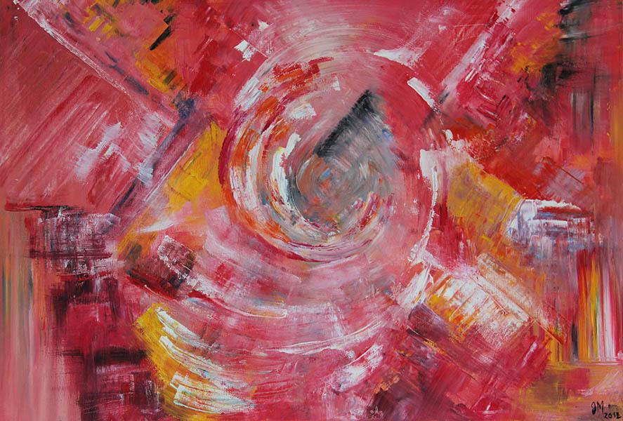 Huile sur toile abstrait rose