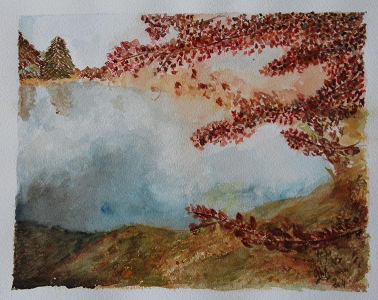aquarelle automne paysage sur papier arche