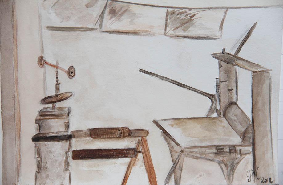 aquarelle sur papier d'arche vu d'atelier