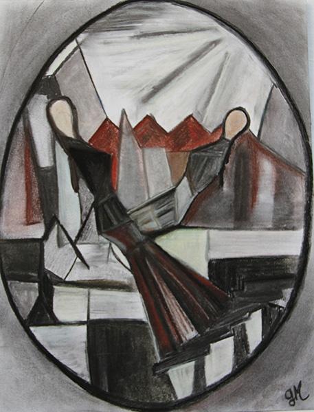 Etude au fusain pour réalisation tableau en ovale : deux femmes en face à face pendule d'équilibre