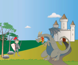 Dessin vectoriel pour animation Hugo et le dragon - un chevalier prêt à combattre le dragon dans la forêt proche du chateau