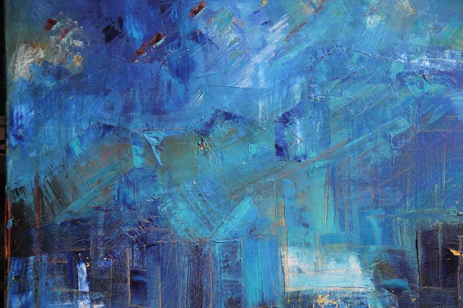 Un bleu profond huile sur toile
