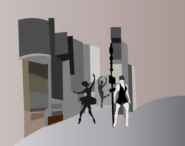 Graphisme : Illustration dessin vectoriel broadway trois danseuses