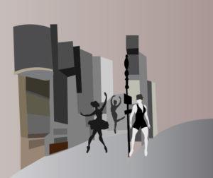 Trois danseuses à broadway -Illustration dessin vectoriel broadway trois danseuses