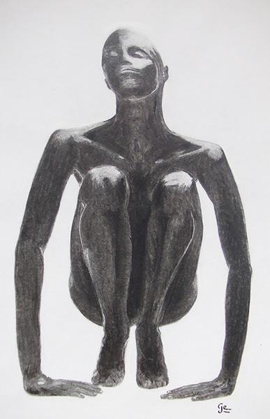Fusain : Femme noire accroupie