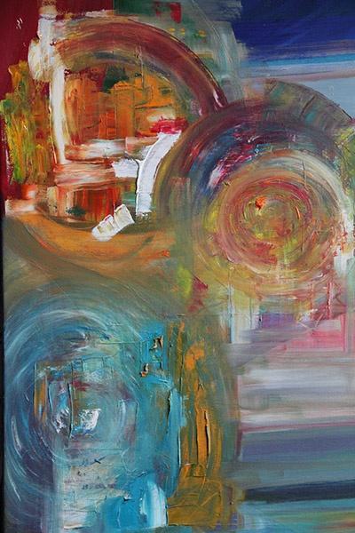 Création Abstrait Huile 3 Visages